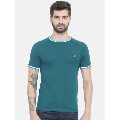 Jack & Jones Men Teal Blue Solid Round Neck T-shirt