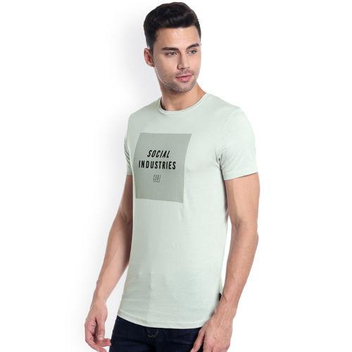 Jack & Jones Men Grey Printed Round Neck T-shirt