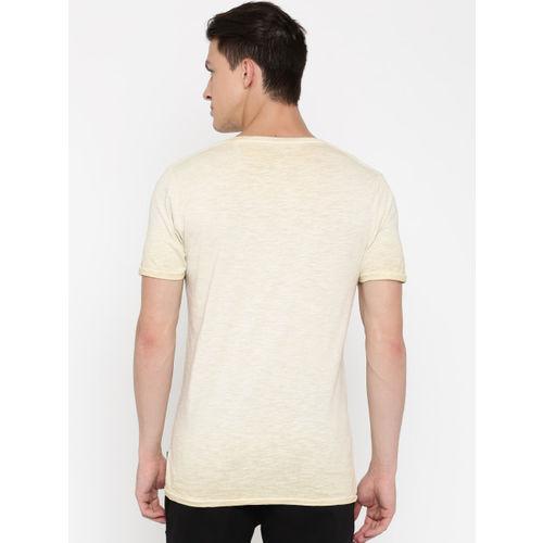 Jack & Jones Men Beige Printed Slim Fit Round Neck T-shirt