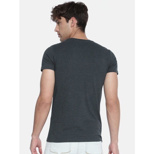 Jack & Jones Men Charcoal Printed Round Neck T-shirt