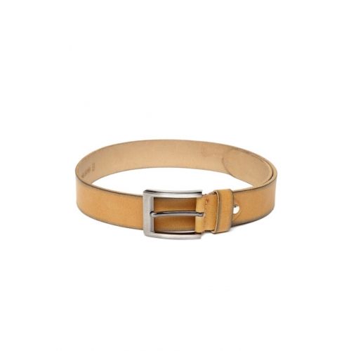 Roadster Men Mustard Yellow Solid Leather Belt