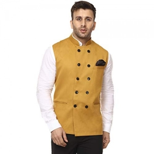 Veera Paridhaan Mustard  Plain Chinese Collar Sleeveless Cotton Poly Nehru Jacket