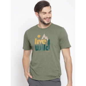 Columbia Olive Green Cotton Printed Regular Fit T-shirt