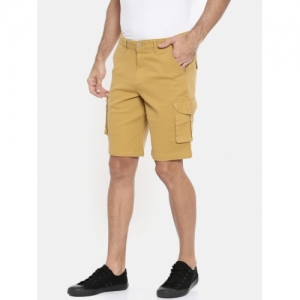 COOL COLORS Men Mustard Yellow Solid Slim Fit Cargo Shorts