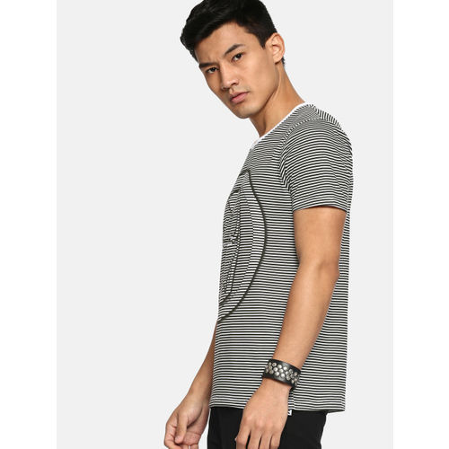 Kook N Keech Men Black & White Striped Round Neck T-shirt
