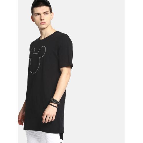 Kook N Keech Men Black Printed Glow in the Dark Longline Round Neck T-shirt