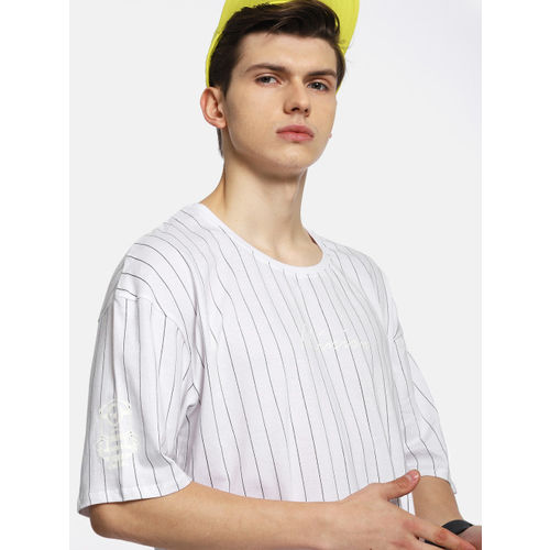 Kook N Keech Men White Striped Round Neck T-shirt