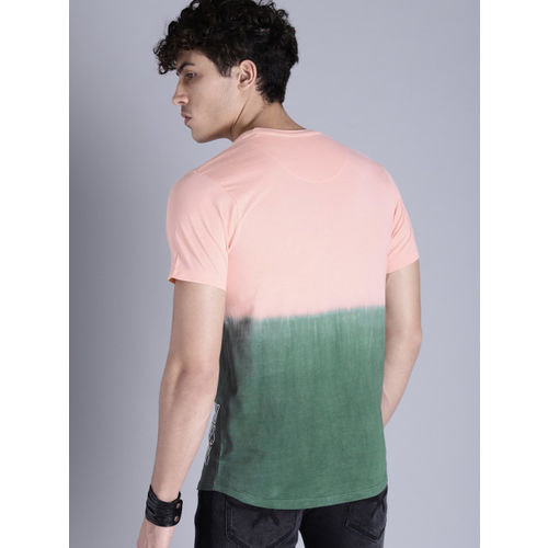 Kook N Keech Men Peach-Coloured & Green Dyed Round Neck T-shirt