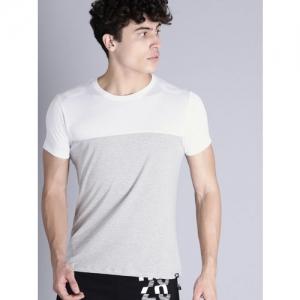 Kook N Keech Men Grey Melange & White Colourblocked Round Neck T-shirt