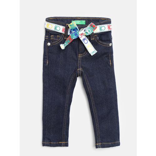 United Colors of Benetton Girls Navy Blue Slim Fit Mid-Rise Clean Look Stretchable Jeans