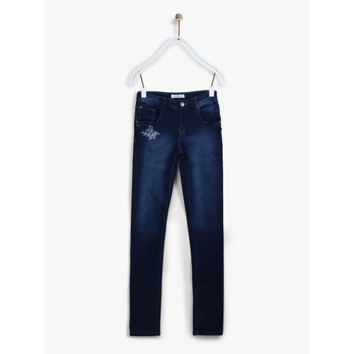 Palm Tree Girls Navy Regular Fit Mid-Rise Clean Look Stretchable Jeans