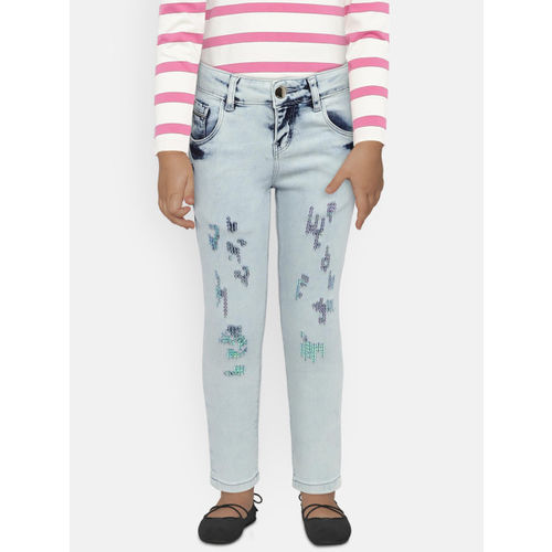 Gini and Jony Girls Blue Slim Fit Mid-Rise Clean Look Jeans