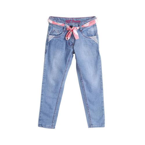 612 league Girls Blue Regular Fit Mid-Rise Clean Look Jeans