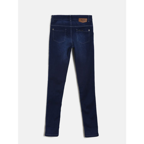 Palm Tree Girls Navy Blue Mid-Rise Clean Look Stretchable Jeans