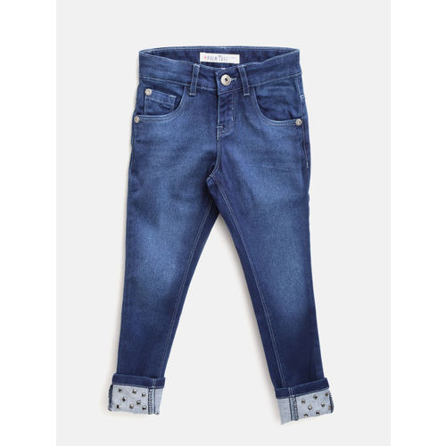 Palm Tree Girls Navy Blue Regular Fit Mid-Rise Clean Look Stretchable Jeans