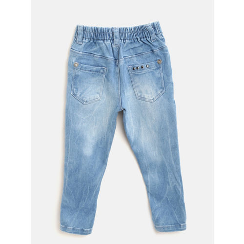 Palm Tree Girls Blue Regular Fit Mid-Rise Low Distress Stretchable Jeans