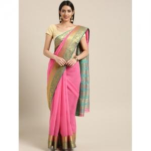 Ishin Pink Solid Chanderi Saree