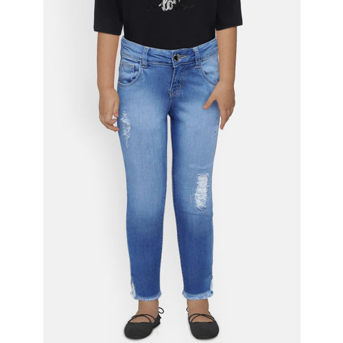 Gini and Jony Girls Blue Slim Fit Mid-Rise Low Distress Jeans