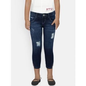 Palm Tree Girls Blue Regular Fit Mid-Rise Mildly Distressed Jeans