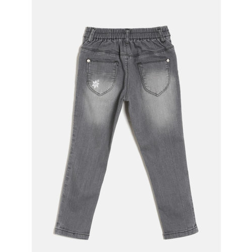 Gini and Jony Girls Grey Regular Fit Mid-Rise Clean Look Stretchable Jeans