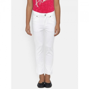Lee Cooper Girls White Regular Fit Mid-Rise Clean Look Jeans