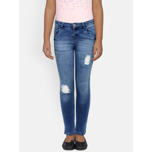 Palm Tree Girls Blue Slim Fit Mid-Rise Mildly Distressed Jeans