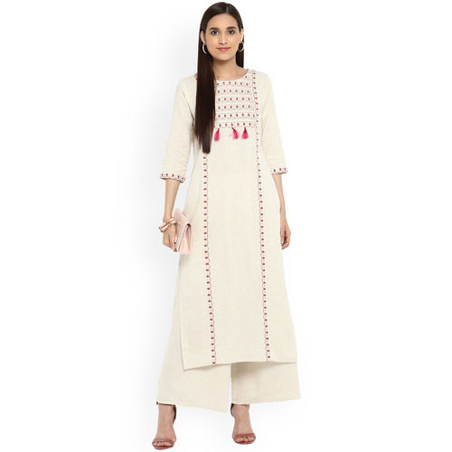 ZIYAA Women Off-White Printed Kurta with Palazzos