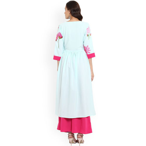 ZIYAA Women Turquoise Blue & Pink Printed Kurta with Palazzos
