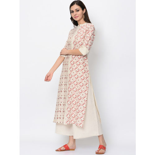 ZIYAA Women Cream-Coloured Printed Kurta with Palazzos