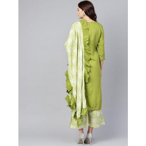 Yufta Women Green Striped Kurta with Palazzos & Dupatta