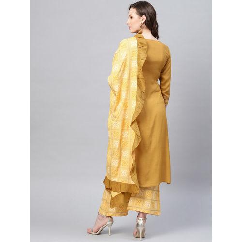 Yufta Women Yellow Striped Kurta with Palazzos & Dupatta