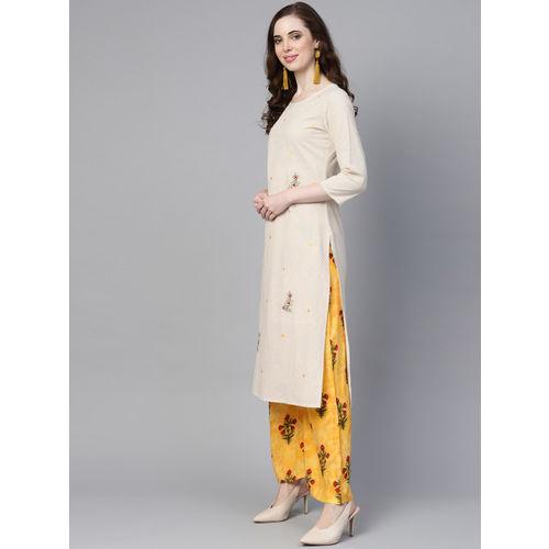 Yufta Women Off-White & Yellow Embroidered Kurta with Palazzos
