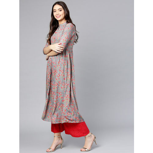 Yufta Women Grey & Red Printed Kurta with Palazzos