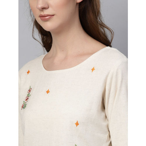 Yufta Women Off-White & Beige Embroidered Kurta with Palazzos