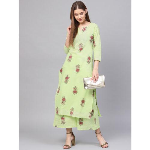Yufta Women Green & Maroon Printed Kurta with Palazzos