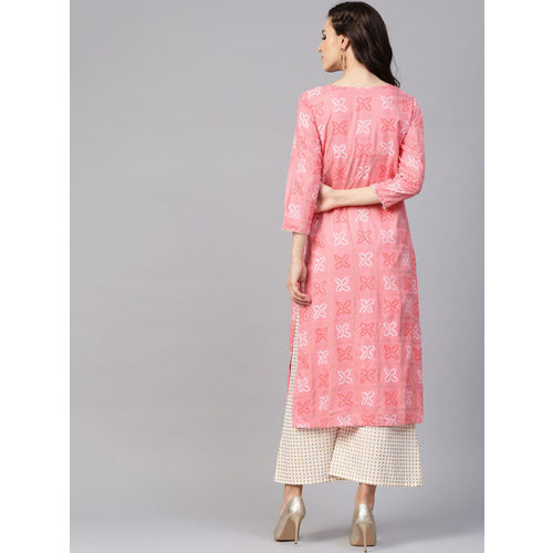Yufta Women Pink & Off-White Printed Kurta with Palazzos
