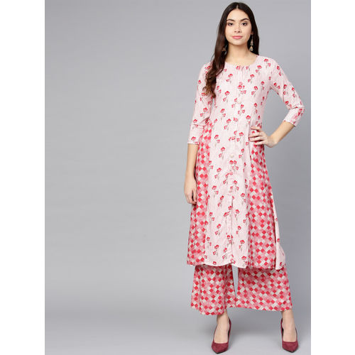 Yufta Women White & Pink Printed Kurta with Palazzos