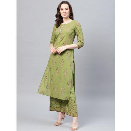 Yufta Women Green & Peach-Coloured Printed Kurta with Palazzos