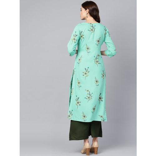 Yufta Women Blue & Olive Green Printed Kurta with Palazzos
