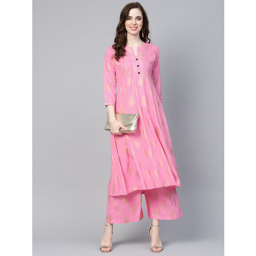 Yufta Women Pink & Golden Printed Kurta with Palazzos