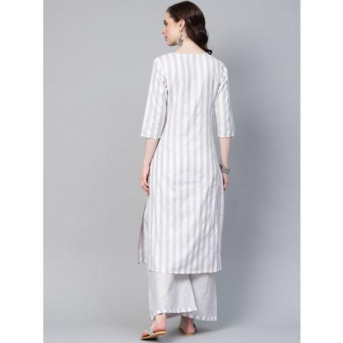 Yufta Women Grey & White Striped Kurta with Palazzos