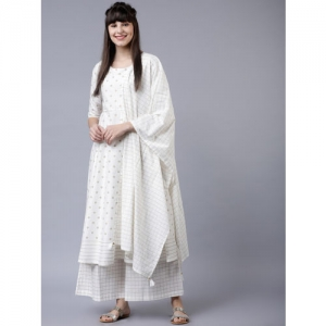 Vishudh Women Off-White & Gold-Toned Printed Kurta with Palazzos & Dupatta