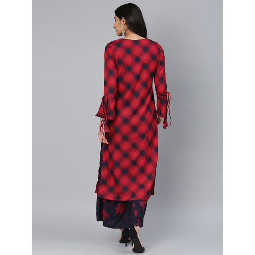 Vishudh Women Red & Navy Blue Checked Kurta with Palazzos