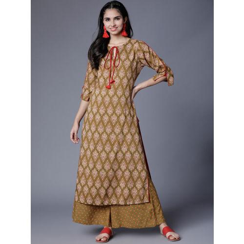 Vishudh Women Olive Green & Red Printed Kurta with Palazzos