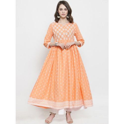 Varanga Women Peach-Coloured & White Printed Kurti with Palazzos