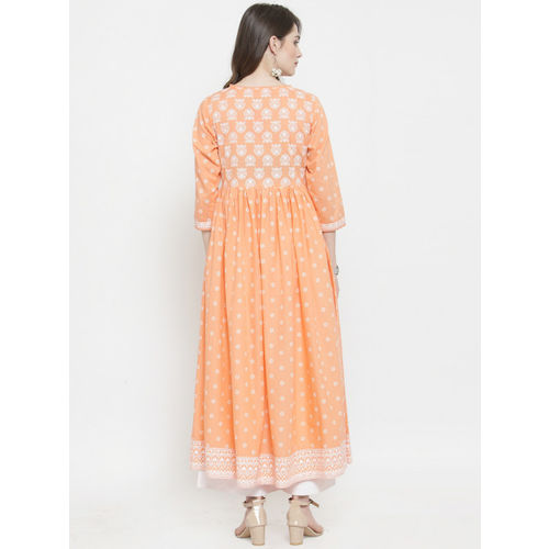 Varanga Women Peach-Coloured & White Printed Kurti with Palazzos