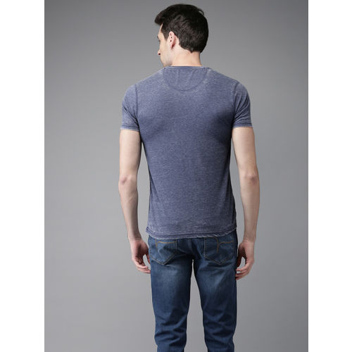 Flying Machine Men Blue Printed Round Neck T-shirt