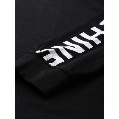 Flying Machine Men Black Solid Round Neck T-shirt