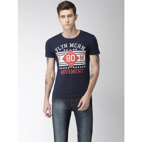 Flying Machine Men Navy Printed Round Neck T-shirt