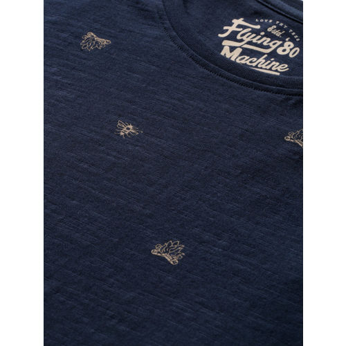 Flying Machine Men Navy Blue Printed Round Neck T-shirt